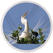 White Egret In Spring Round Beach Towel