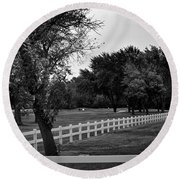 White Fence On The Wooded Green Round Beach Towel