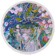 White Flower Abstract Round Beach Towel