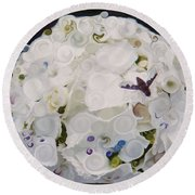 White Flower And Friendly Bee Mixed Media Painting Round Beach Towel