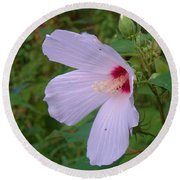 White Flower Round Beach Towel