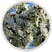 White Flowering Crabapple Tree Round Beach Towel