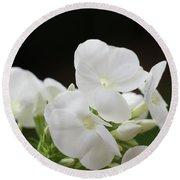 White Flowers 3 Round Beach Towel