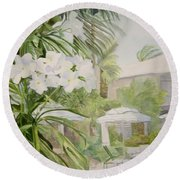 White Flowers Aruba Round Beach Towel