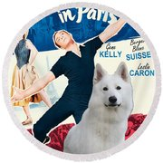 White German Shepherd Art Canvas Print - An American In Paris Movie Poster Round Beach Towel