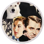 White German Shepherd Art Canvas Print - Suspicion Movie Poster Round Beach Towel