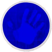 White Hand Blue Round Beach Towel