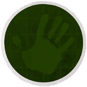White Hand Olive Green Round Beach Towel