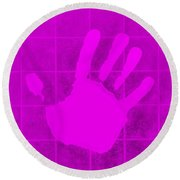 White Hand Purple Round Beach Towel