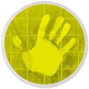 White Hand Yellow Round Beach Towel