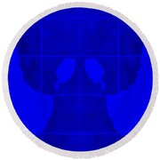 White Hands Blue Round Beach Towel