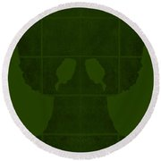 White Hands Olive Green Round Beach Towel