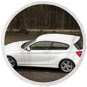 White Hatchback Car Round Beach Towel