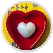 White Heart Red Heart Round Beach Towel