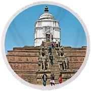 White Hindu Temple In Bhaktapur Durbar Square In Bhaktapur-nepal  Round Beach Towel