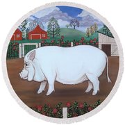 White Hog And Roses Round Beach Towel