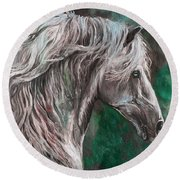 White Horse Painting Round Beach Towel