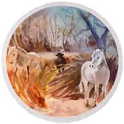 White Horses And Bull In The Camargue Round Beach Towel