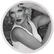 White Hot Palm Springs Round Beach Towel