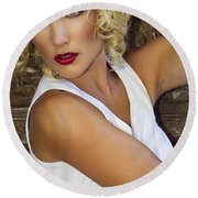 White Hot Color Palm Springs Round Beach Towel