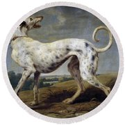 White Hound Round Beach Towel