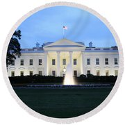 White House In Eveninglight Washington Dc Round Beach Towel