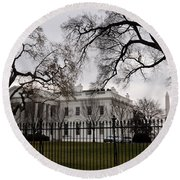 White House On A Cloudy Winter Day Round Beach Towel