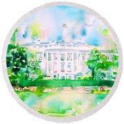 White House - Watercolor Portrait Round Beach Towel