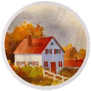 White House With Red Shutters Round Beach Towel