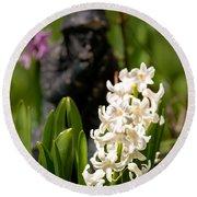 White Hyacinth In The Garden Round Beach Towel