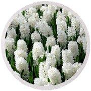 White Hyacinths Round Beach Towel