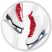 White Ice Skates With Red Laces Round Beach Towel