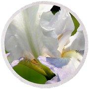 White Iris Round Beach Towel
