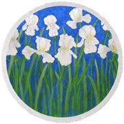 White Irises Round Beach Towel
