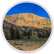 White Knob Mountain Peak Round Beach Towel