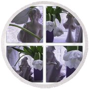 White Lace Picture Window Round Beach Towel