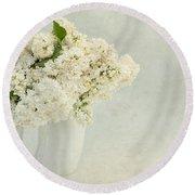 White Lilac In A Cream Jug Round Beach Towel