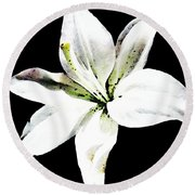 White Lily - Elegant Black And White Floral Art By Sharon Cummings Round Beach Towel by Sharon Cummings