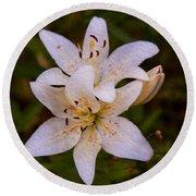 White Lily Starburst Round Beach Towel