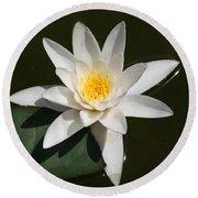 My White Lotus Round Beach Towel