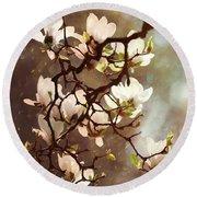 White Magnolias Round Beach Towel