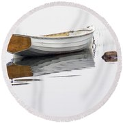 White Maine Boat On A Foggy Morning Round Beach Towel
