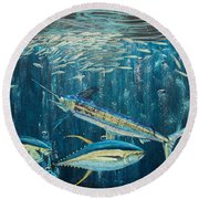 White Marlin Original Oil Painting 24x36in On Canvas Round Beach Towel by Manuel Lopez