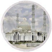 White Mosque Round Beach Towel
