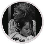 White Mountain Apache Elder And Granddaughter Rodeo White River Arizona 1970 Round Beach Towel