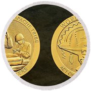 White Mountain Apache Tribe Code Talkers Bronze Medal Art Round Beach Towel