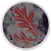 White Oak Leaf Round Beach Towel
