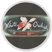 White Orchid Cigar Label Round Beach Towel