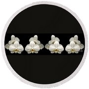 White Orchids Panorama Round Beach Towel