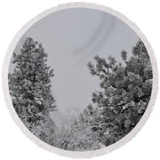 White Out Round Beach Towel